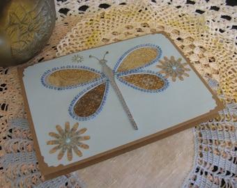 Blue Beaded Dragonfly Card