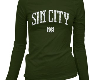 Women's Sin City 702 Las Vegas Long Sleeve Tee - S M L XL 2x - Ladies' Las Vegas T-shirt, Nevada - 4 Colors