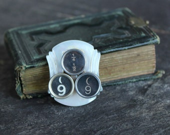 Typewriter Key Brooch, pin, steampunk, vintage, antique, retro, mother of pearl buckle, jewelry