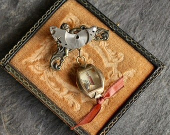 Shadowbox Watch Part Brooch with a soul