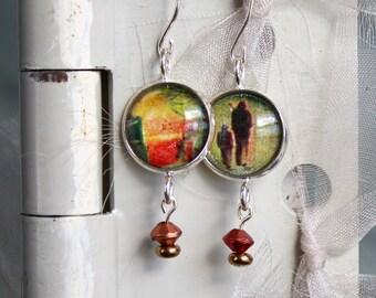 Earrings, Victorian era postcard images, under glass