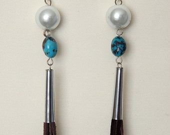Sterling Silver Earrings with Czechoslovakian Glass Pearls, Genuine Turquoise, Tin Cones & Long Leather Fringe