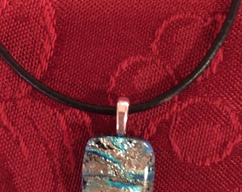 Dichroic Glass Necklace on Black Leather Cord