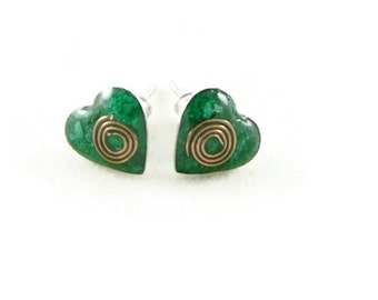 Orgone Energy Tiny Heart Post Earrings - Stud Earrings - Malachite Gemstone - Simple Earrings - Minimalist - Orgone Energy Jewelry