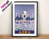 TAJ MAHAL POSTER Vintage Agra Tourism Advert Purple Temple Art Print Wall Hanging