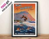 HAWAII SURF PRINT: Vintage Travel Art Poster Plakat wiszący, niebieski