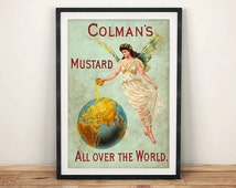 COLMAN'S MUSTARD POSTER: Vintage Food Advert, Green Globe Art Print Wall Hanging (A4 / A3)