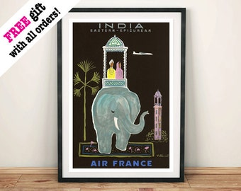 INDIA ELEPHANT POSTER: Vintage Airline Travel Advert, Black Art Print Wall Hanging