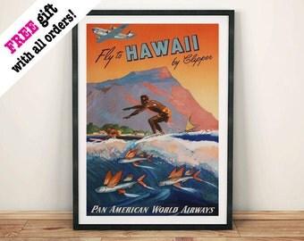 HAWAII SURF PRINT: Vintage Travel Advert Art Poster Wall Hanging, Blue