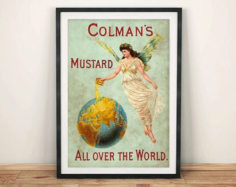 COLMAN'S MUSTARD POSTER: Vintage Food Advert, Green Globe Art Print Wall Hanging