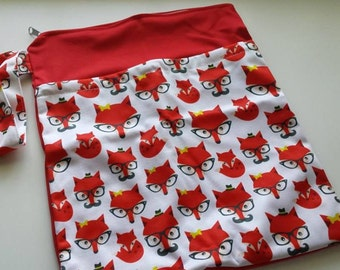 New Item! Double zippered Wet Dry Bag *Foxy the Fox with Glasses