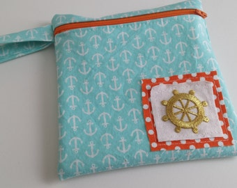 Zippered wet bag cosmetic pouch  by EcoAlternatives Aqua and Tangerine Nautical Anchors