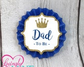 Name Tags/Corsages - Royal Blue, White & Glitter Gold Little Prince Baby Shower Cardstock Corsages
