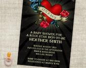 Junge Rock Sterne Baby Dusche Rockabilly Tattoo inspiriert Digital bedruckbare Einladungsdatei mit professioneller Druck-Option