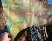Vtg hand dyed and crinkled silk scarf very long