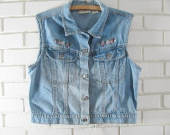 90's denim vest with embroidered flowers oversize M