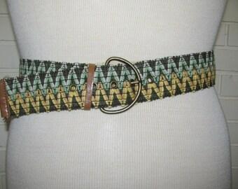 1960's -70's 2''wide woven hippie belt size 32-38