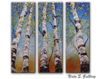 "Birch Tree Original Painting.Landscape.Impasto.Palette Knife.Triptych.Home Office Decor.Large Artwork 36"" x 36"" Ready to Ship   by Nata S."