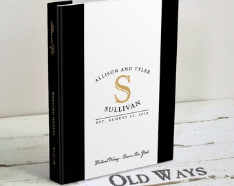 Black Tie Affair Wedding Guest Book - Monogram Wedding Guest Book - Retro Classic Black and White with Gold - Wishes for Bride and Groom