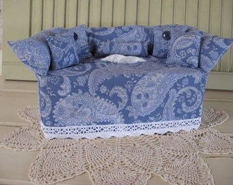 Couch Tissue Box Cover Mini Couch Blue Variety Paisley Print White Lace Room Accessory Gift Bathroom Bedroom Home Decor