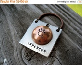 XOXO SALE // Personalized Copper and Nickel Silver Pet Id Tag - Wire Wrapped - Hand Stamped - Aluminum Backer
