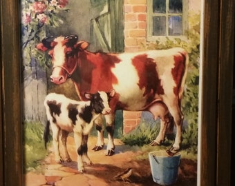 """6"""" X 8.5"""" FRAMED Vintage Picture Momma COW & Baby wooden bucket"""