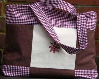Burgundy Gingham, Cream and Chocolate Linen Fabric padded Bag.  Mothers Day Gift. Women's Handbag. Teens Bag. Girls Bag. Handbag. Purse.
