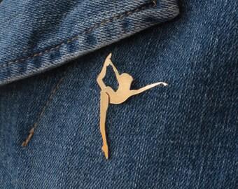 Gold Dancer Pin , Ballerina Brooch , Dancer Gift , Ballet Dancer Pin , Ballet Jewelry , Dancer Jewelry , Dancing Woman , Modern Dance