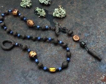 Solar cross necklace, rustic ceramic necklace, black amulet necklace, solarwheel necklace, sun cross necklace, sun symbol necklace