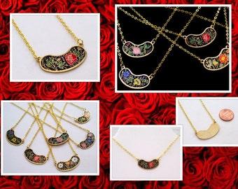 Floral Bib Necklace, Pink Red Flowers, Vintage Enamel Pendant, Boho Necklace, Layering Necklace, Minimalist Necklace, Reversible Pendant