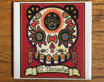 El Tlacuache (The Possum) Ceramic Tile Coaster -  Loteria and Day of the Dead skull Dia de los Muertos calavera designs