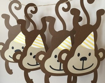 Hanging monkey die cuts with party hat
