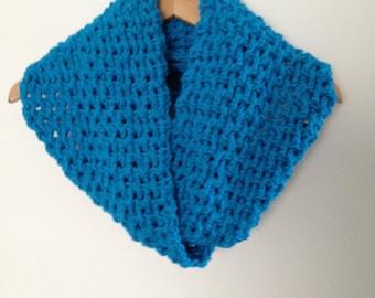 Crochet Scarf Blue Hawaii  Infinity Crochet Chunky Thick Neckwarmer Soft