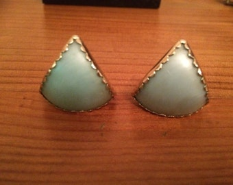 Triangular 60s Earrings Pearly Blue