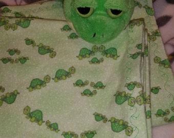 Turtle Print Flannel Receiving Blankets