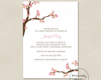 Printable Baby Shower Cherry Blossom Invitation / Cherry Blossom Printable Invitation