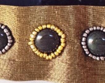 Silk Studded Headband, Gold Silk Headband, Gold Studded Headband, Steampunk Headband