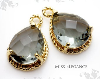 2pcs Black Diamond Pear Cut Teardrop Framed Glass Pendant Gold Plated Unique Jewelry Findings // 11.5mm x 18mm (including Loop) // XXXXXX