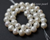 Potato pearl 11.5-12mm Large Hole pearl Freshwater Pearl,Necklace pearl White Loose Pearl Beads 34pcs Full Strand Item No : PL2255