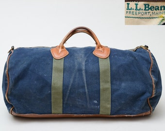 70s L.L. Bean Duffle Bag Blue Canvas and Leather Work Wear Tote Duffel Bag