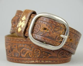 70s Tooled Leather Wide Floral Southwest Bohemian Western Belt