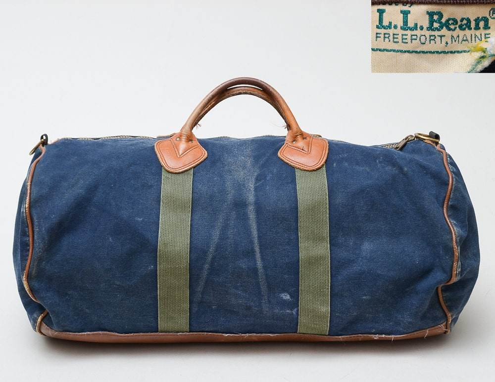 70s l l bean duffle bag blue canvas and leather work wear