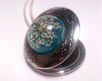 Flower Locket Necklace - Real Flower Necklace - Aqua - Turquoise Jewelry - Custom Chain Length - Silver Locket - Keepsake Necklace