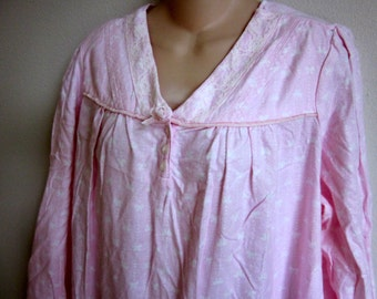 Flannel nightgown pink free bust Laura Scott granny gown L -tags on