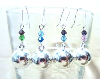Crystal Beaded Silver Ball Ornament Dangle Earrings, Christmas Hanukkah Advent Colors, Handmade Festive Holiday Fashion Jewelry, Ladies Gift