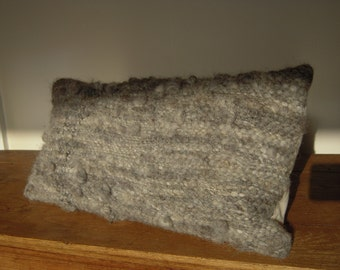 """Hand Woven Cushion  -  Natural Dyed Wool half size Pillow Cover - 18"""" x 8.5"""" all handspun grey"""