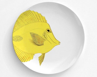 """Yellow Tang Fish Plate, Melamine Plate, Vintage Bird Illustration, Kitchen, decorative plate, gift, Dinner Plate, 10"""" plate,"""