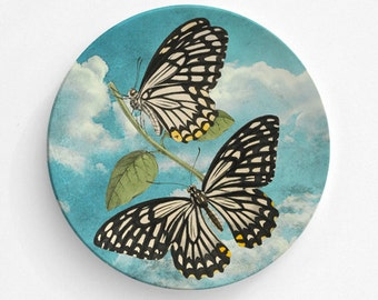 """Common Mime Butterfly Plate, Melamine Plate, Vintage Botanical Illustration, Kitchen, decorative plate, gift, Dinner Plate, 10"""" plate,"""