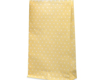 Small Gift Bags - Set of 10 Paper - Party Wedding Favour - Yellow White Spot Spotty Dots