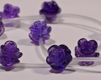 Amethyst 10mm 2 Beads Carved flower Rose Beads Natural Gemstone Bead Supplies Jewelry Making Supplies